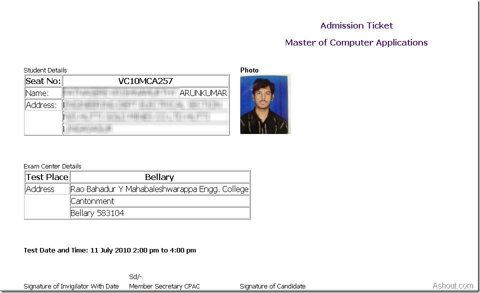 karnataka pgcet 2010 hall ticket