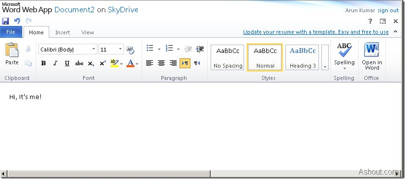 microsoft office web apps-word preview
