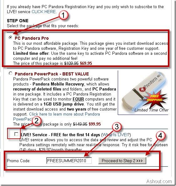 pc pandora order page