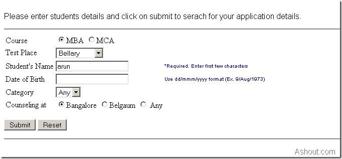 searching hall ticket in pgcet website