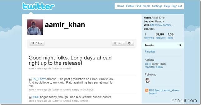 Aamir Khan on twitter