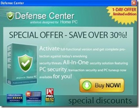 Adware-DefenseCenter advertising pop-ups