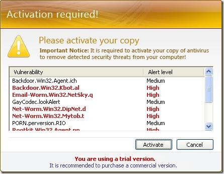Adware Defense Center fake virus alert