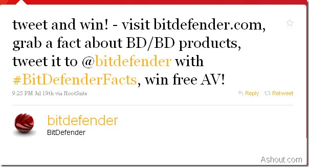 Official BitDefender Tweet