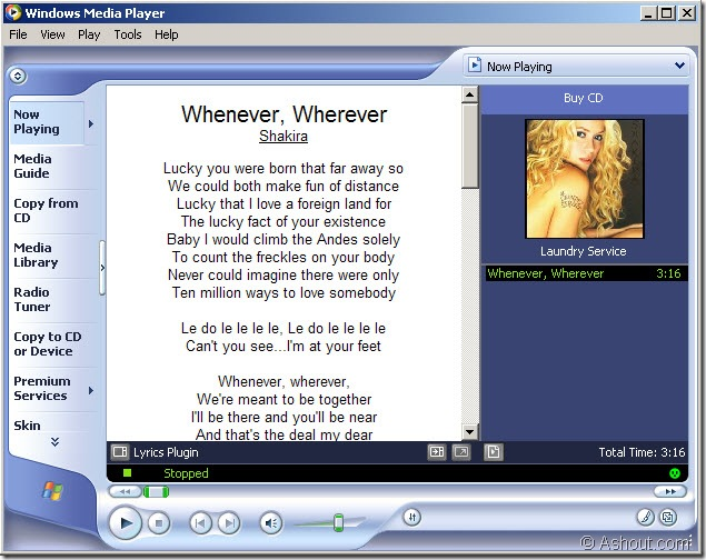 Windows Media Player Displaying Song Lyrics
