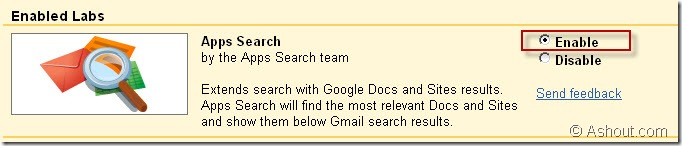 Apps Search lab in gmail