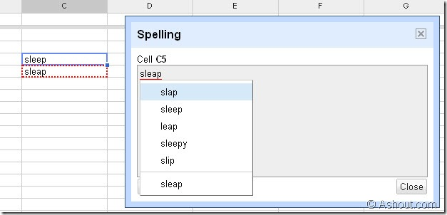 check spelling in spread sheet