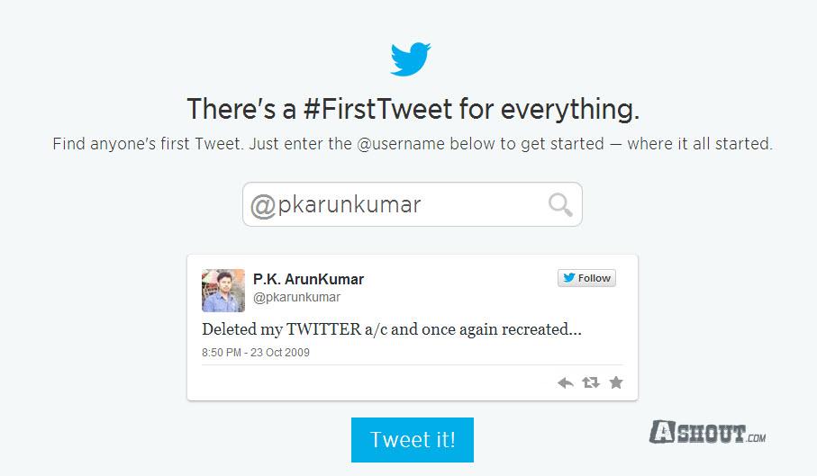 first tweet twitter official tool