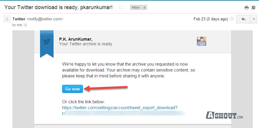 twitter mail to download tweets