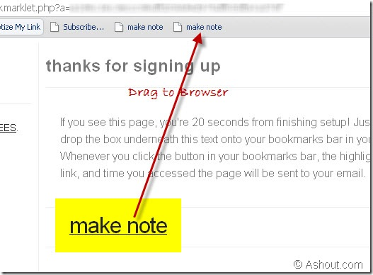using notes for later site