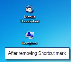 after removing shortcut arrows windows 7