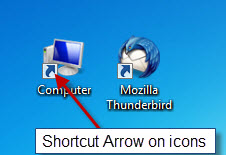 remove arrows from shortcuts