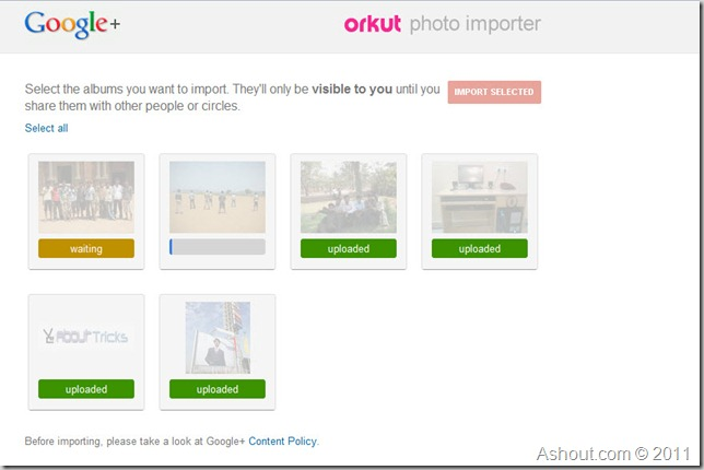 orkut photos album to google  profile