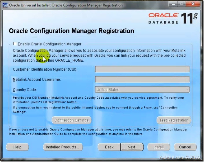 oracle configuration manager registration window