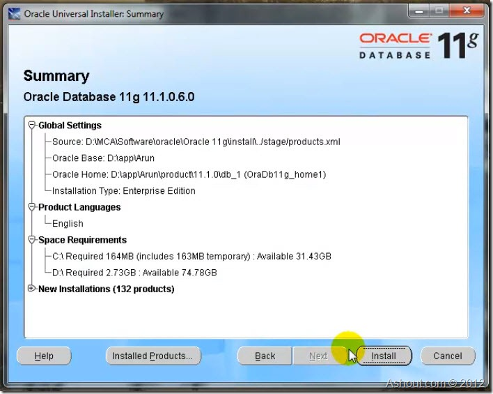 oracle 11g summary window