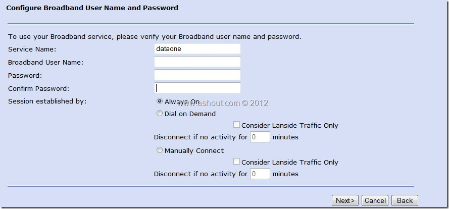 configure broadband user name and password