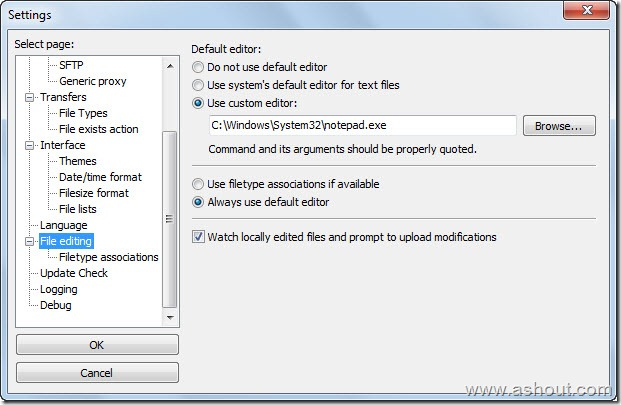 file editing filezilla settings