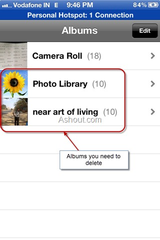 delete photo albums from iphone