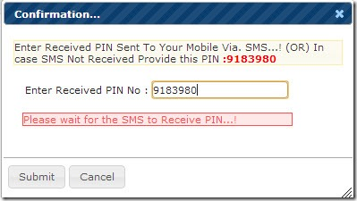 Enter Received PIN No