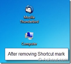 after removing shortcut arrows in windows