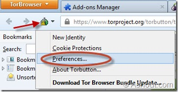 select preferences option in tor browser