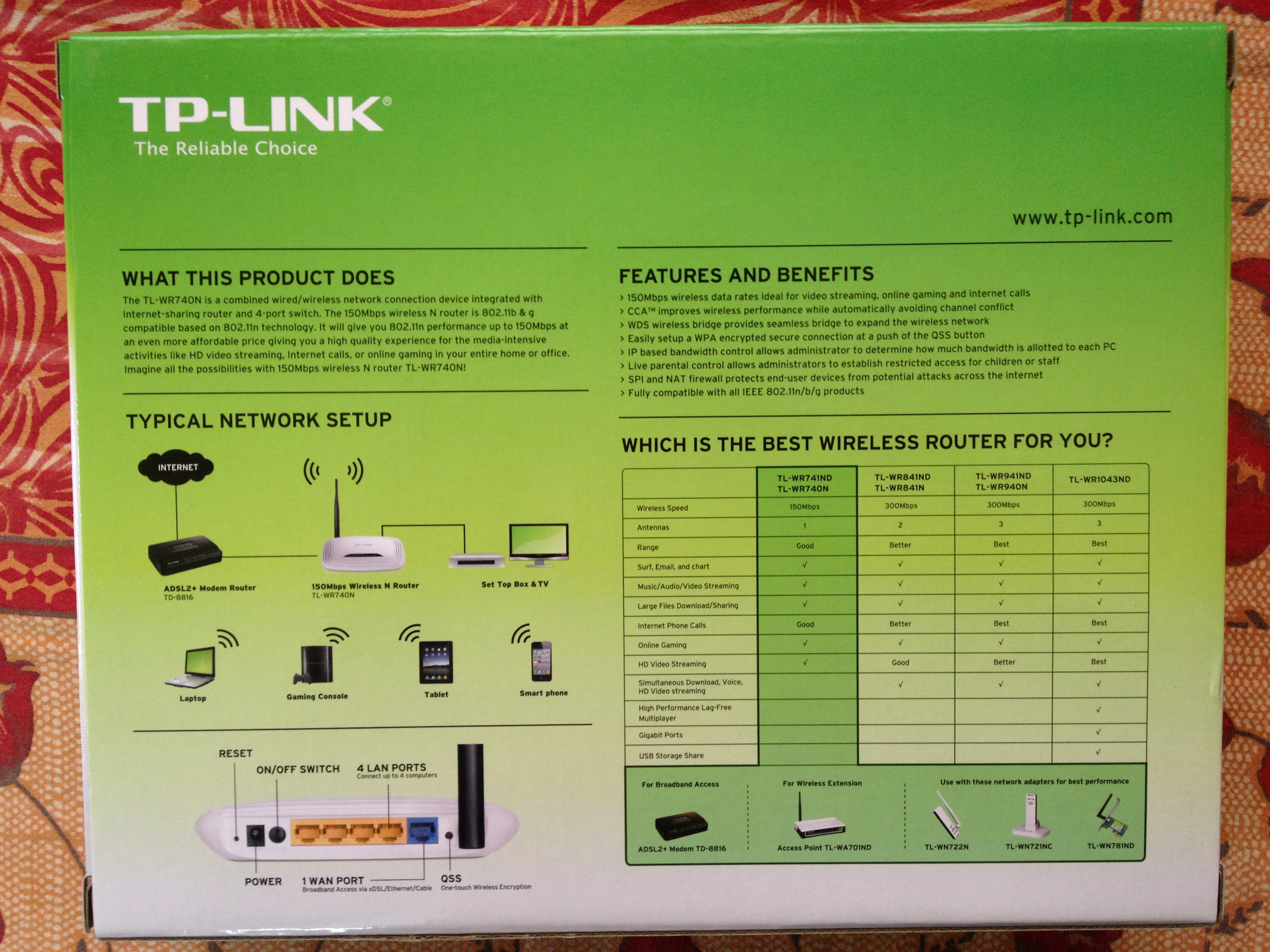 TP-LINK TL-WR740N box back side