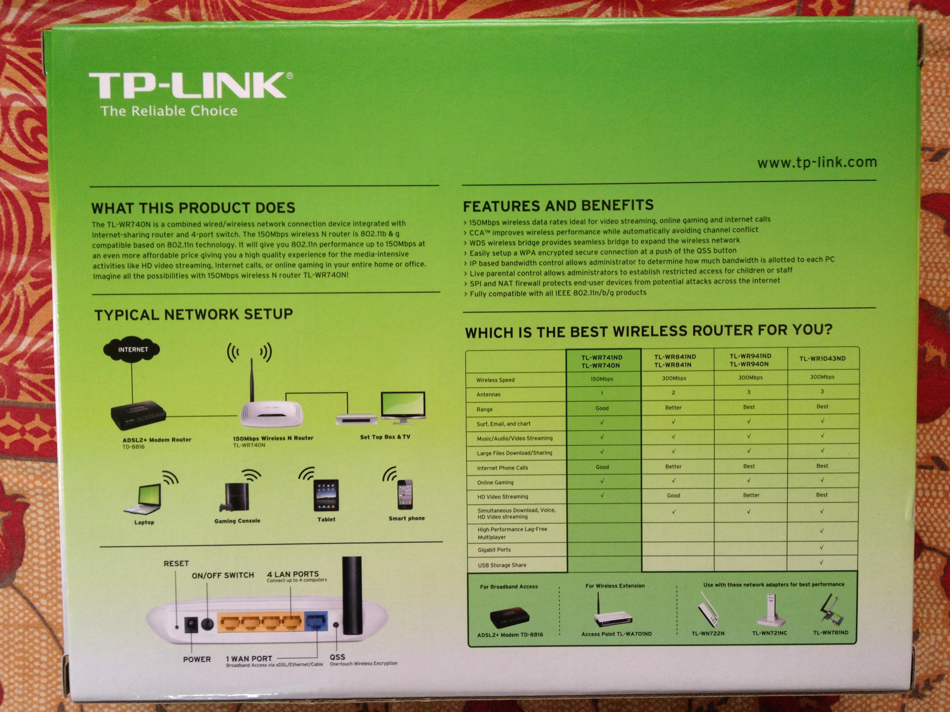 TP-LINK TL-WR740N box back side