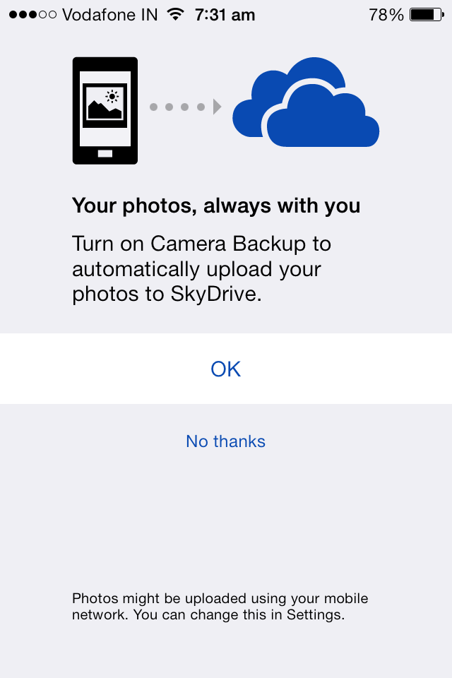 automatically backup iphone photos videos to skydrive