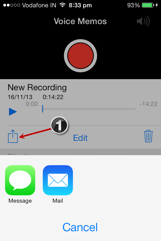copying file using voice memo app