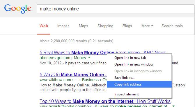 copy link address of google search result