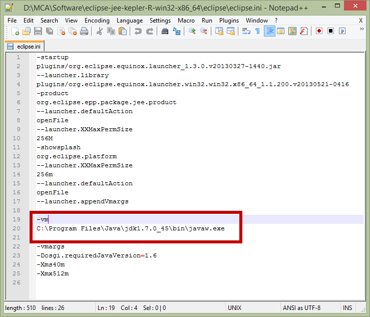 eclipse.ini file configuration