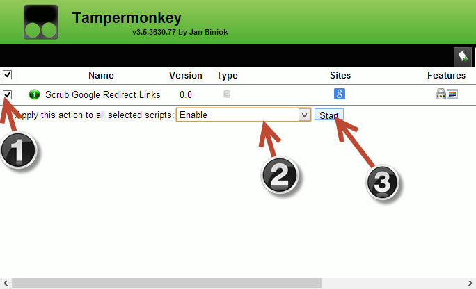 enable scripts in tampermonkey