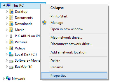opening properties in win 8
