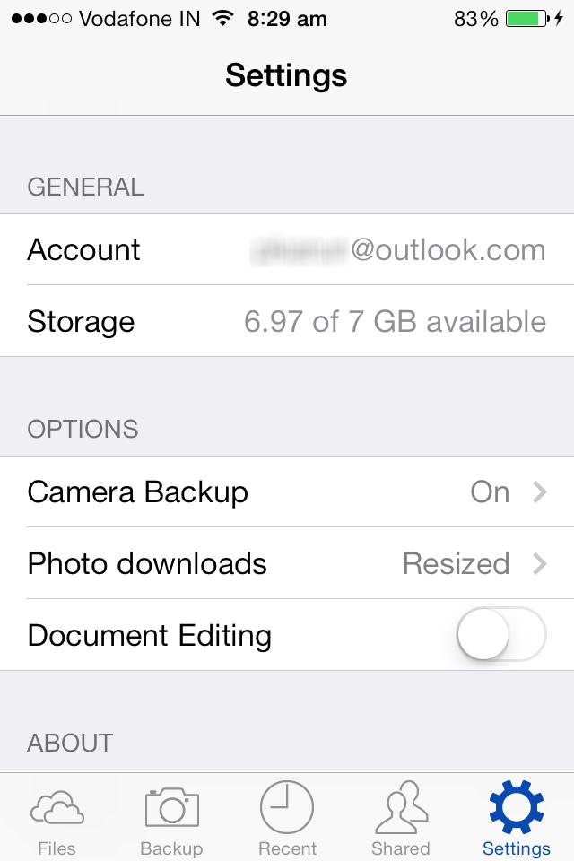 skydrive iphone app camera backup
