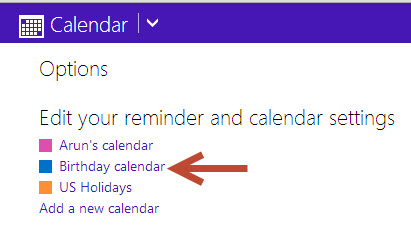 birthday calendar in windows 8