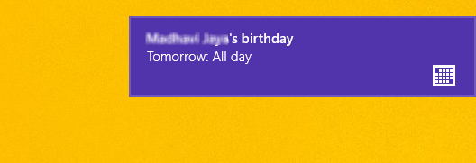 birthday notification alert on windows 8 os
