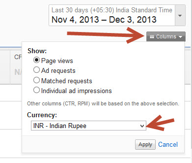 change currency in adsense performance tab