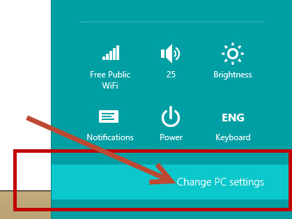 change pc settings option in windows 8 os