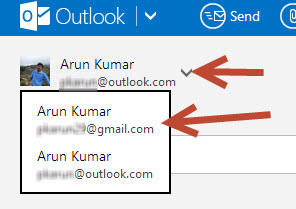choosing gmail account in outlook