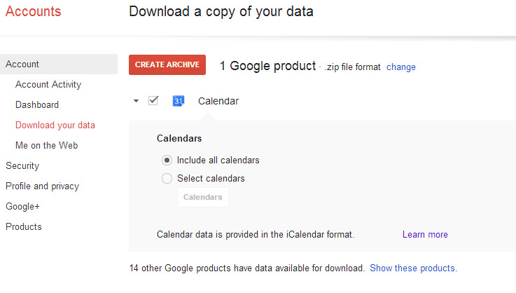 google calendar backup takeout