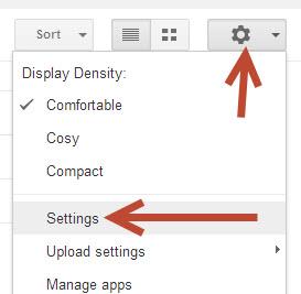 google drive gear icon
