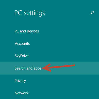 search and apps option in windows 8