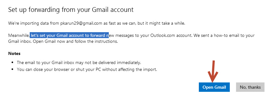 set up forwarding from your gmail account