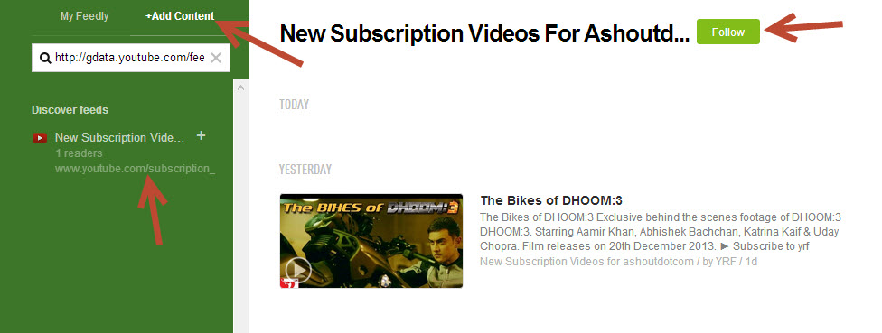 subscribe youtube rss feed in feedly