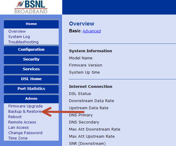 backup bsnl broadband settings