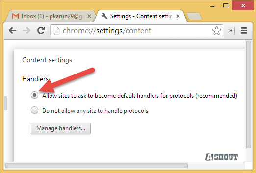 allow chrome to suggest handle protocols