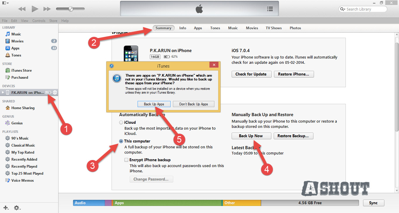 backup iphone through itunes