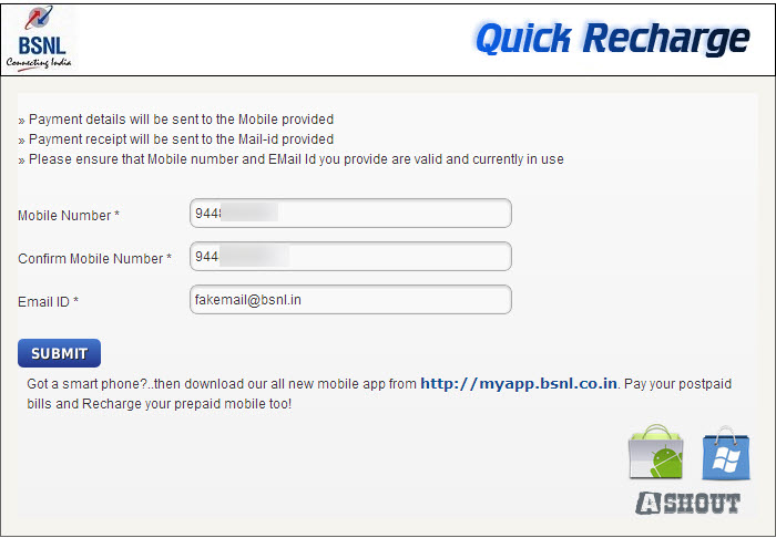 bsnl quick recharge page