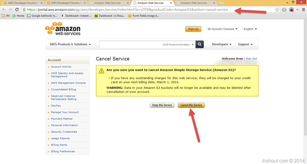 cancel amazon simple storage service