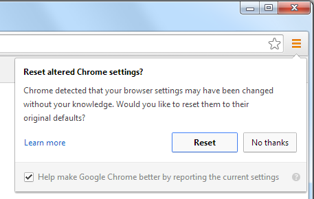 chrome Reset Prompt
